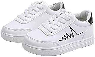 子供のカジュアルスニーカー、ファッションリボンの小さな白い靴、軽量の屋外滑り止めウォーキングシューズ、軽量で 男の子と女の子のランニングシューズ、学生/子供用