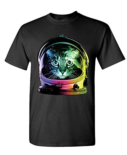 The Goozler NEON Space CAT - Kitty Astronaut Kitten - Mens Cotton T-Shirt, S, Black
