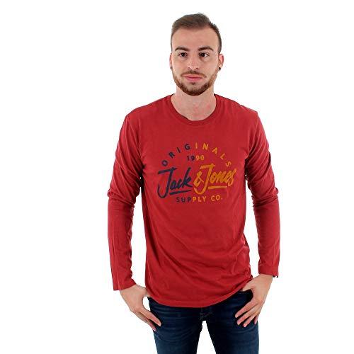 Camiseta Jack&Jones Hombre XXL Rojo 12161385 JOMIRROR TTEE LS Crew Neck FST...