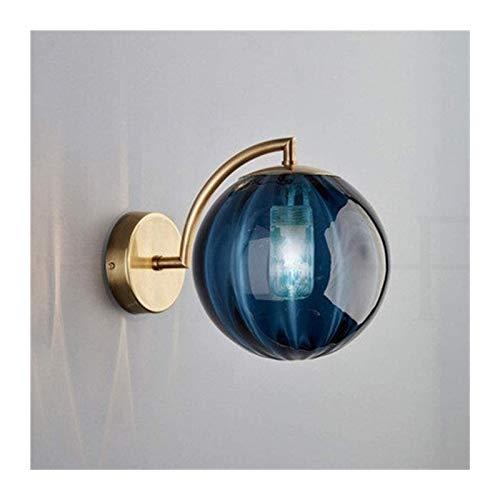 HongLianRiven Lámpara de pared lámpara de pared decoración dormitorio noche lámpara de pared hotel cafetería estudio pasillo lámpara de pared 4 colores lámpara de noche (color: azul)