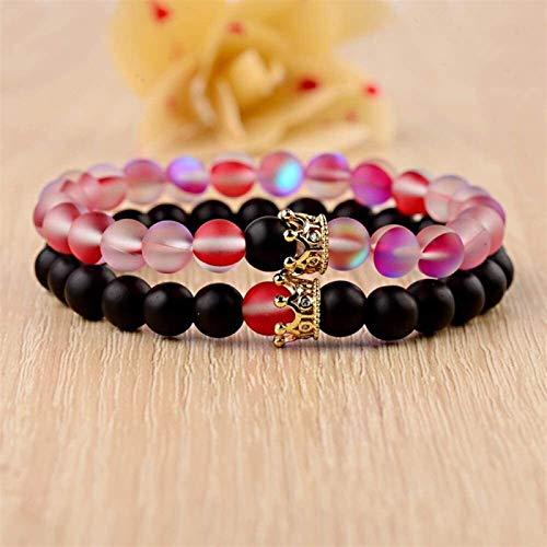 Pulsera de piedra Mujer, 7 chakra 8mm perlas de piedra natural de cristal rojo brazalete de la corona de la corona de la joyería de la corona de la yoga Energía de reiki regalo del encanto para el ami