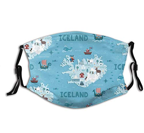 Face Mask Cotton| Iceland Map With 2 Filters Personalized Printed Gifts Washable Bandana Mask Scarf