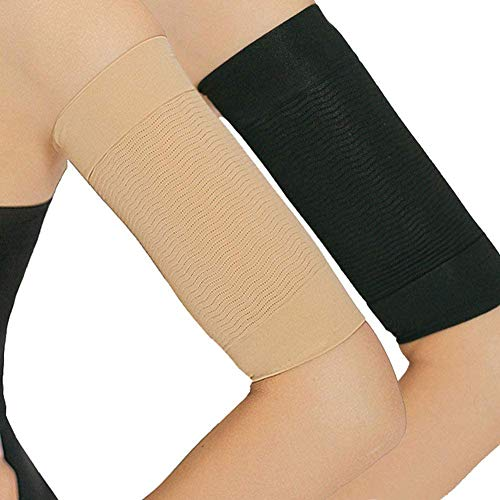 2 Pair Arm Slimming Shaper Wrap, Arm Compression Wrap Sleeve Helps Lose Arm Fat, Tone up Arm Shaping Sleeves for Women, Sport Fitness Arm Shapers(Beige + Black)