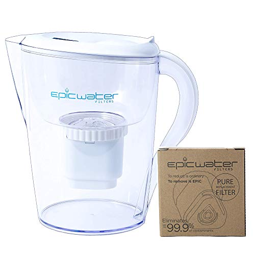 Epic Pure | Water Filter Pitchers Plus Extra Filter for Drinking Water | 10 Cup | 2 x 150 Gallon Long Last Filters | Removes Fluoride, Chlorine, Lead | Water Purification | Water Filter Pitcher Large