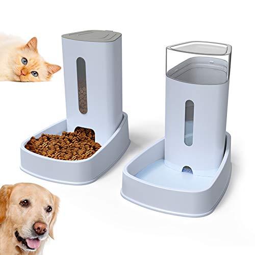 Dispensador de Comida y Agua para Perros y Gatos, 3.8Lx2 Comederos y Bebederos Automático de Alimentos Fuente de Agua Mascotas Accesorios Grande