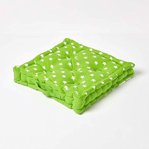 Homescapes–Star verde–100% algodón–Cojín de suelo–verde y blanco–cuadrado–Amplificador de interior–jardín–silla de comedor–cojín para asiento cojín, 100% algodón, Verde, 50 x 50 cm