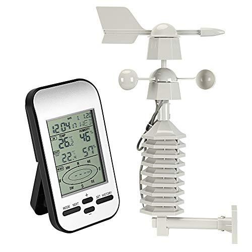 Kacsoo Estación meteorológica inalámbrica 5 en 1, reloj de control de radio con sensor exterior para temperatura, humedad, velocidad del viento, dirección del viento