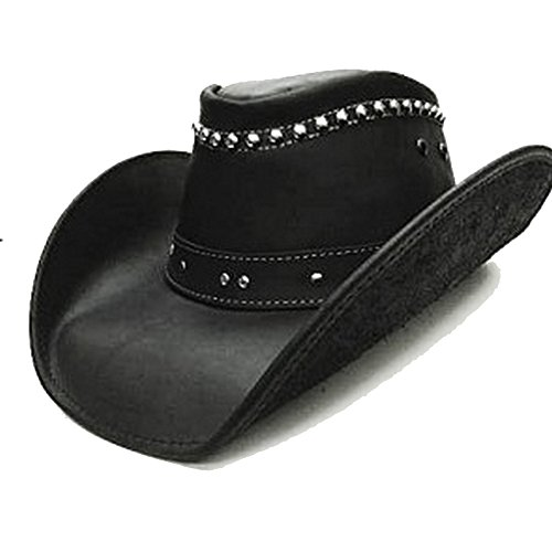 Modestone Unisex Leather Chapeaux Cowboy Metal Studs Black