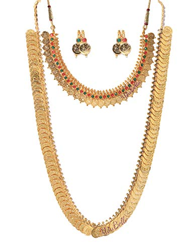 YouBella Jewellery Gold Plated Jewellery Long Traditional Maharani Coin Necklace Set and...