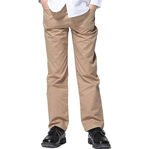 Leo&Lily Boys Kids 100% Cotton Twill Elastic Waist Regular Fit Pants Trousers (Khaki,14) LLB451