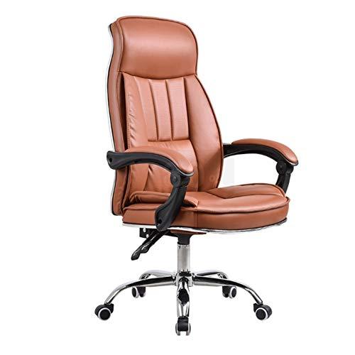 Silla de oficina reclinable, gruesa, suntuosa silla giratoria levantada con reposapiés, silla de masaje, costura creativa, silla de ordenador de PU (color: marrón)