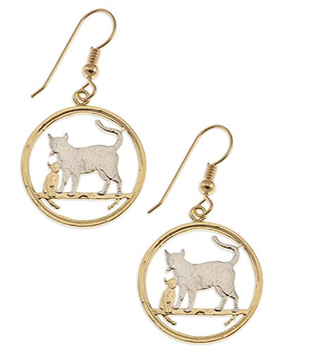 Cat Earrings, Isle of Man 1/5 Ounce Coins Hand Cut