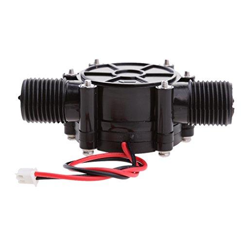 SDENSHI 12V Micro Wasserturbine Hydro Generator Leitungsdurchfluss Hydroelektrisch 10W Schwarz