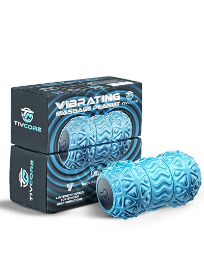 TIVCORE Vibrating Peanut Massage Ball for Physical & Trigger Point Therapy - Peanut Foam Roller for Mobility & Flexibility - Back, Neck, & Foot Massager for Deep Tissue Massage & Myofascial Release