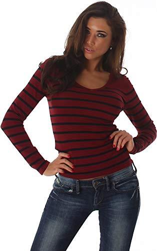 Jela London Damen Streifen Langarmshirt Pullover V-Ausschnitt Slim Langarm Stretch, Bordeaux-Rot 34 36 38