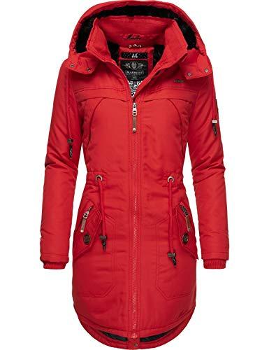 Marikoo Damen Winterparka Wintermantel mit Abnehmbarer Kapuze Kamii Rot Gr. XS