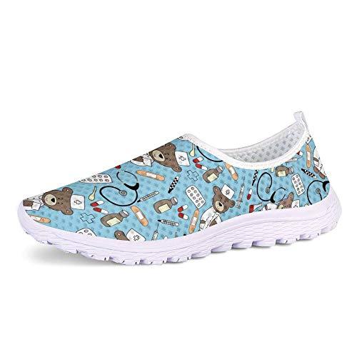 POLERO Nurse Bear Zapatillas Zapatos Deportivos de Enfermera para Mujer Zapatos sin Cordones Zapatos de Trabajo Ligeros y cómodos para Caminar para Mujeres, Azul, Talla 37