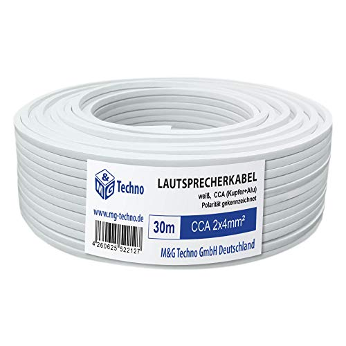 30m Cable de altavoz 2x4mm² CCA rectangular blanco marcas de longitud, Model 4663