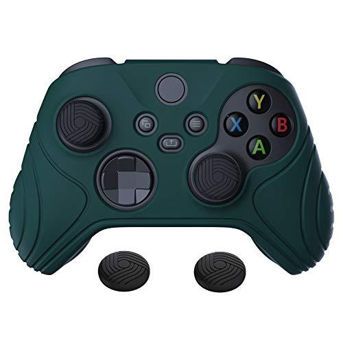 eXtremeRate PlayVital Cover Skin per Xbox Series X S Controller Joystick Custodia Protettiva in Silicone Gomma Antiscivolo con 2 Gommini Coprilevette Analogiche-Samurai Edizione(Verde)