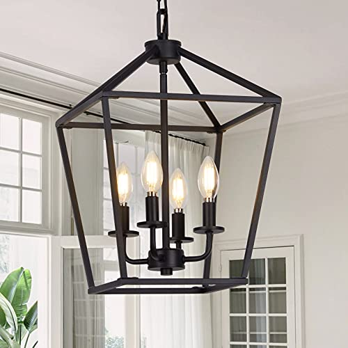 4 Light Pendant Lighting, Industrial Ceiling Light Black Lantern Chandelier with Farmhouse Metal Cage Adjustable Height Rustic Geometric Hanging Light E12 Base for Kitchen Island, Bedroom or Entryway