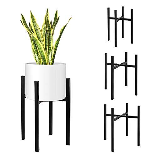 Magicfly Pflanzenständer Blumentopfständer Metall, Erweiterbare Breite und Verstellbare Höhe für 20-37cm, Midcentury Pflanzen Blumentopf Ständer für Topfpflanzen im Innen- und Außenbereich, Schwarz