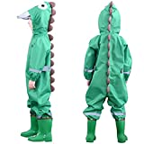 Muddy Buddy Rain Suit One Piece Coverall, 3D Dinosaur Raincoat Coverall Green