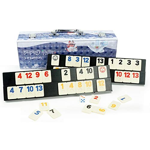 LEQU Play Christmas Series Rummy Set 106 Rummy Tile Games Colorful Rummy Games 4 Durable Trays and Leather Boxes Free Double 6 Christmas Domino Small Gifts Suitable for Children and Families