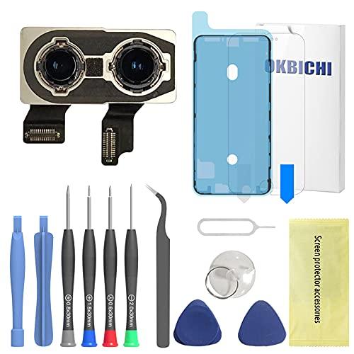OKBICHI Cámara trasera para iPhone XS y iPhone XS Max Módulo de cámara trasera Flex Cable de repuesto - Herramientas de reparación con protector de pantalla y sello impermeable