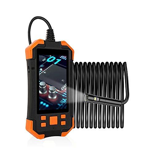 MOOLFN Industrielles Endoskop mit Zwei Linsen, 4,3-Zoll-LCD-Bildschirm mit 7,9 mm Weitwinkel-Endoskop 1080P HD-Mikroinspektionskamera, halbstarres Kabel für die automatische Motorinspektion,10M