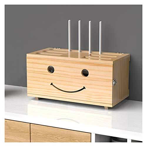 LJJOO Contenedor de manejo de cable ajustable de madera, protector de sobretensiones de tira de corriente, soporte de caja de almacenamiento enrutador, estante de pared, caja de acabado de almacenamie