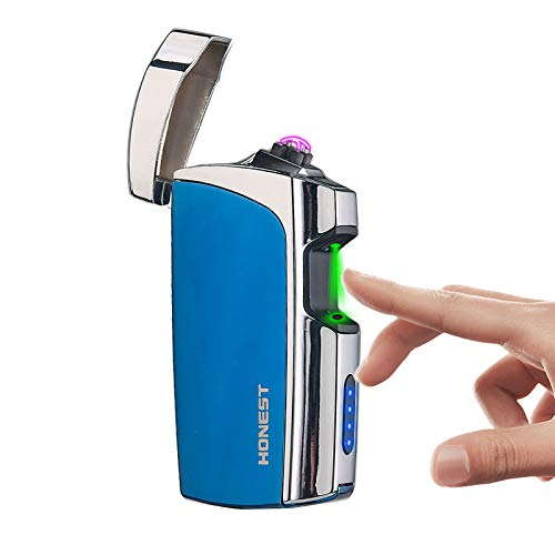Windproof Arc Lighter X Plasma Lighters Rechargeable USB Lighter Electric Lighter for Cigarette with LED Display Power (Blue)