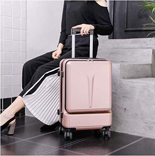 ADDG Creative Trolley Suitcase Rolling Luggage Spinner On Wheel Business Cabin Travel Luggage With Laptop Bag,Gold,20 inches