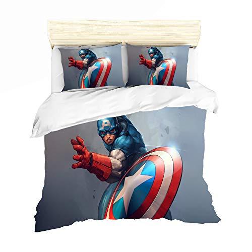 ZSAMSB Traje De Tres Piezas con Motivo De Capitán América para Su Cómodo Juego De Cama con Cierre De Cremallera, Ropa De Cama (5 Tamaños) (135 x 200 cm)