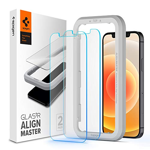 Spigen, 2 Pack, Protector Pantalla iPhone 12 / iPhone 12 Pro (6.1'), Align Master, Marco de...