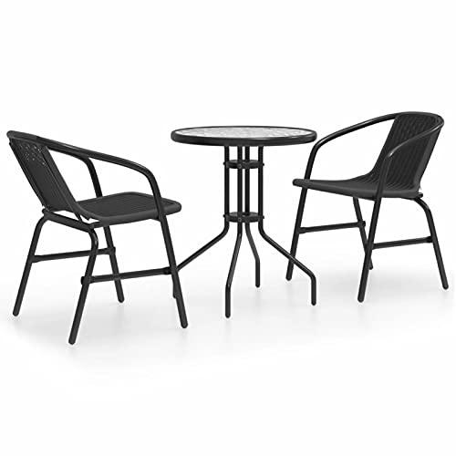 Susany Juego de Comedor de jardín de 3 Piezas Negro Conjuntos de Muebles de jardín Taburete de Bar Muebles Cocina Silla de Comedor para Salon Cocina Mesa