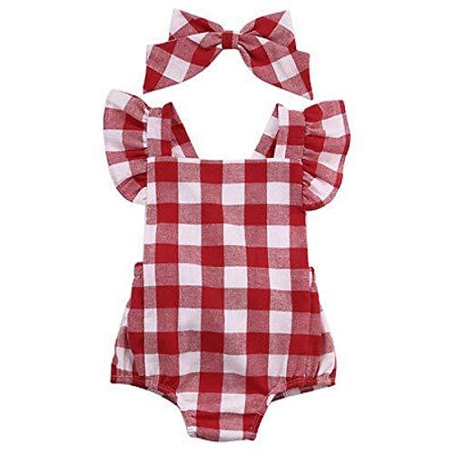 Tienda de Hanks Sxy bebés de Tela Escocesa Mono Volver Cruz del Arco-Nudo Romper, Kid Tamaño: 70cm (Rojo) (Color : Red)