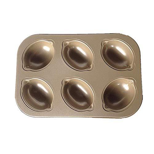 6-Cavity Carbon Steel Cake Mold DIY Fondant Cake Baking Pan Lemon Shape Non-stick Quick Release Cake Pan Muffin Pan Cupcake Tray Cookie Maker Pan Cake Biscuit Dessert Mold Baking Tray