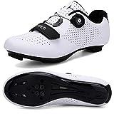 Hombres Bicicleta De Carretera Zapatos De Ciclismo Premium Microtex Zapatos Con Cleat Hombres SPD Zapatos Negro Blanco Hombres Ciclismo Spinning Zapatos, color Blanco, talla 40 2/3 EU