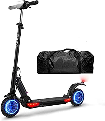 Electric Scooter Adults Kugoo S1 Pro Portable E-scooter 350W Motor with 30km Long Range 3 Speed Modes,30Km/h Top Speed LCD Display Screen and 8 Inch Wheel, Electric Kick Scooter with LED Light and Bag