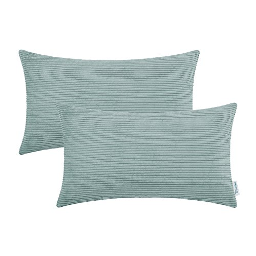 CaliTime Cushion Covers 2 Pack 30cm x 50cm Duck Egg Ultra Soft Corduroy Striped Both Sides Throw Pillow Cases