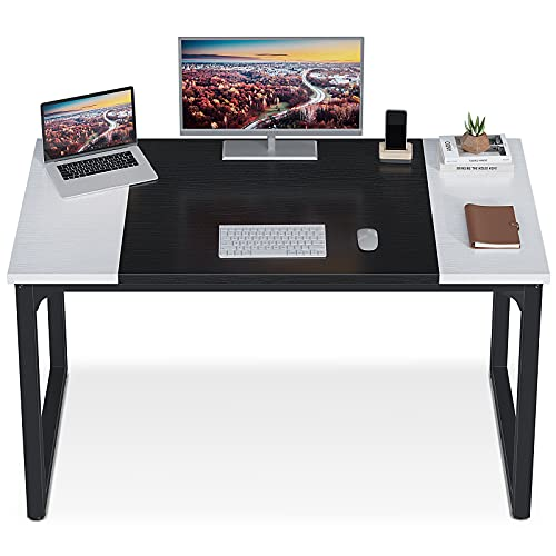 ODK Computer Desk 47' with Splice Board, Study Writing Table for Home Office, Modern Simple Style PC Gaming Desk, Black and White