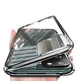 Orgstyle Cover per Huawei P40 PRO 5G, [Fotocamera Posteriore Pellicola Integrato] Custodia Magnetico Protettiva, Fronte e Retro Vetro Temperato Cover Paraurti in Metal 360 Gradi Cover, Nero