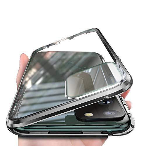 Orgstyle Hülle für Huawei P40 Pro 5G, [Eingebautem Kamera Schutzfolie] Magnetische Doppelseitiges Hartglas Handyhülle, Metallrahmen Case Rückseite Linse Displayschutz 360 Grad Hülle, Schwarz