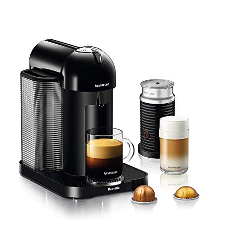 Nespresso Vertuo Coffee and Espresso Machine Bundle by Breville w/ Aero 3 Milk Frother, Black (Renewed)