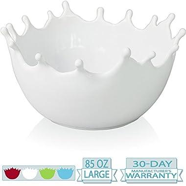 Premium Large Ceramic Fruit Bowl - Candy Dish - Salad Bowl - Decorative Centerpiece Bowl - Serving Bowl - Best for Serving Fruit Salad Candy Popcorn Punch Chips - Unique Modern Design - White