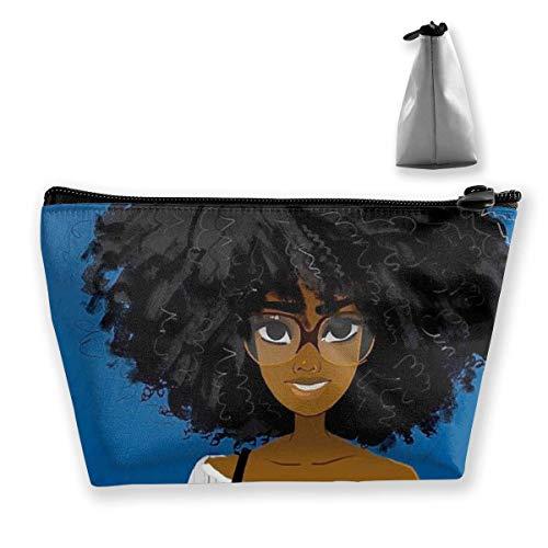 Afro Lady African American Black Women Girls Art Royal Blue Trousse de Maquillage Makeup Trousse de Toilette Toiletry Organizer Pencil Case Handbag