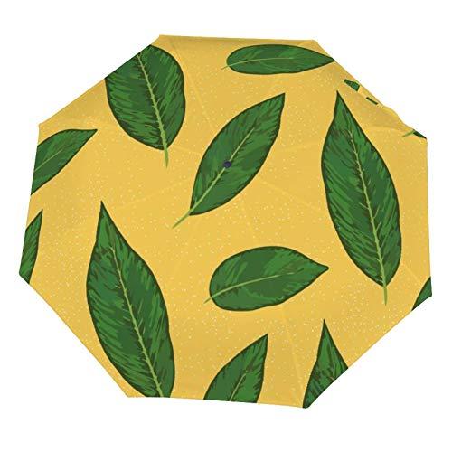 Paraguas de lluvia manual, plegable, resistente al sol, amarillo menta, hoja de palma, tropical, ligero, plegable (interior de vinilo)