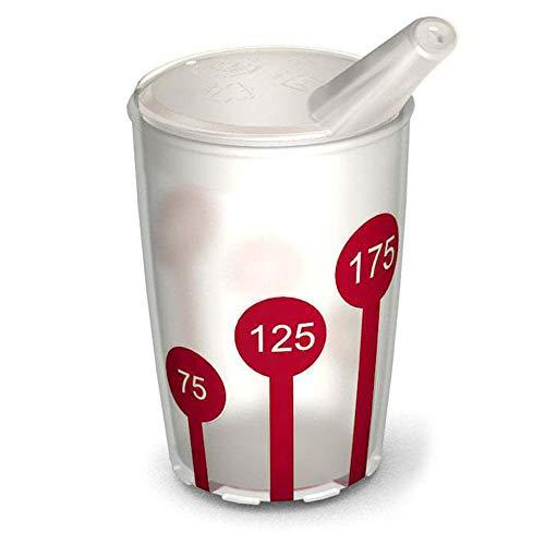 Ornamin Becher mit Anti-Rutsch Skala 220 ml natur/rot und Schnabelaufsatz (Modell 820 + 806) / Schnabelbecher, Trinkbecher, Kinderbecher
