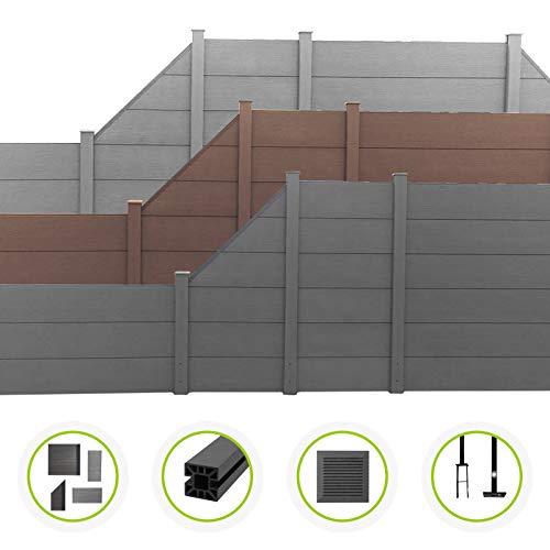 HORI® WPC-Zaun XXL l Sichtschutz-Zaun, Steckzaun, Gartenzaun Komplettset l zum einbetonieren I Grau