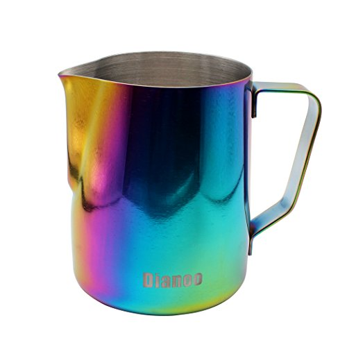 Dianoo Milk Pitcher, Stainless Steel Milk Cup, Good Grip Frothing Pitcher, Coffee Pitcher, Espresso Machines, Milk Frother & Latte Art, 1PCS (600 ML) - Multicolor